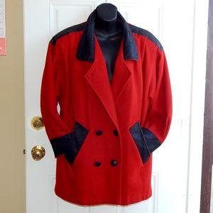 Vintage 80's Red Wool Coat